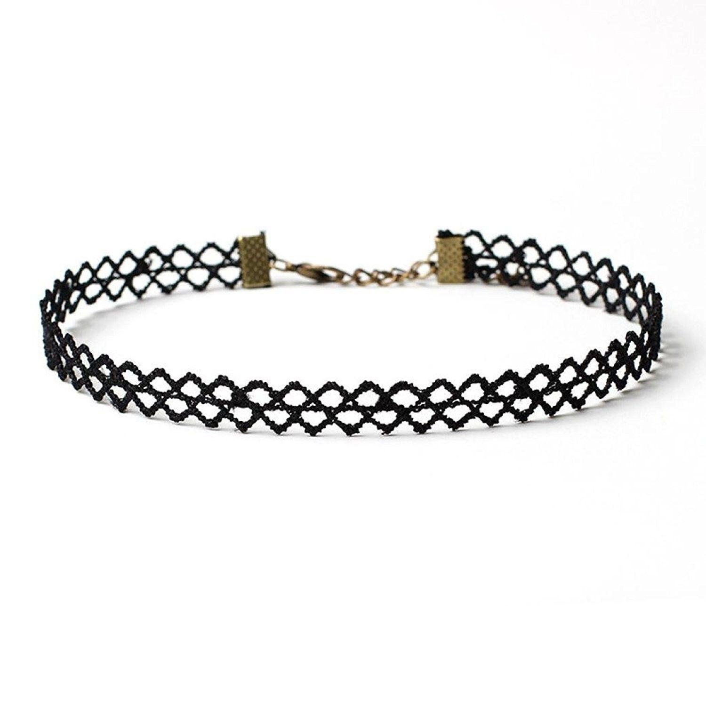 b6e937bde1bc0 Women Black Choker Necklace Set Stretch Velvet Tattoo Lace Choker ...