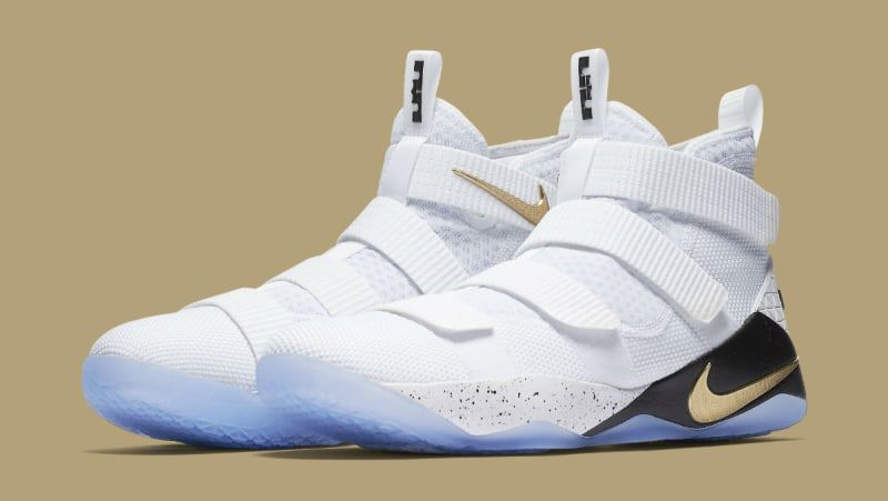 6103ea5825683a Nike LeBron Soldier 11 White Gold Black Release Date 897644-101 ...