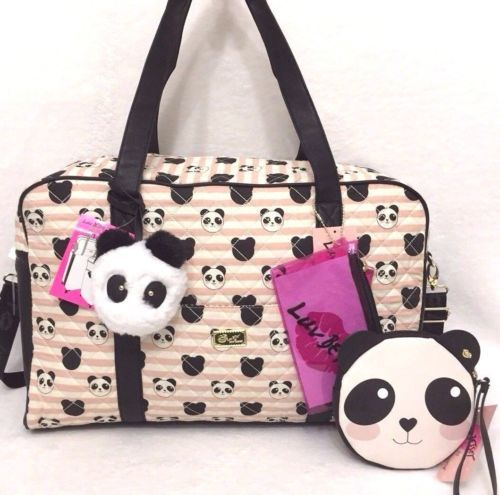 da4470096e0a Betsey Johnson Quilted Panda Bear Weekender Bag Set Duffle Coin Purse Luv  Cruisn