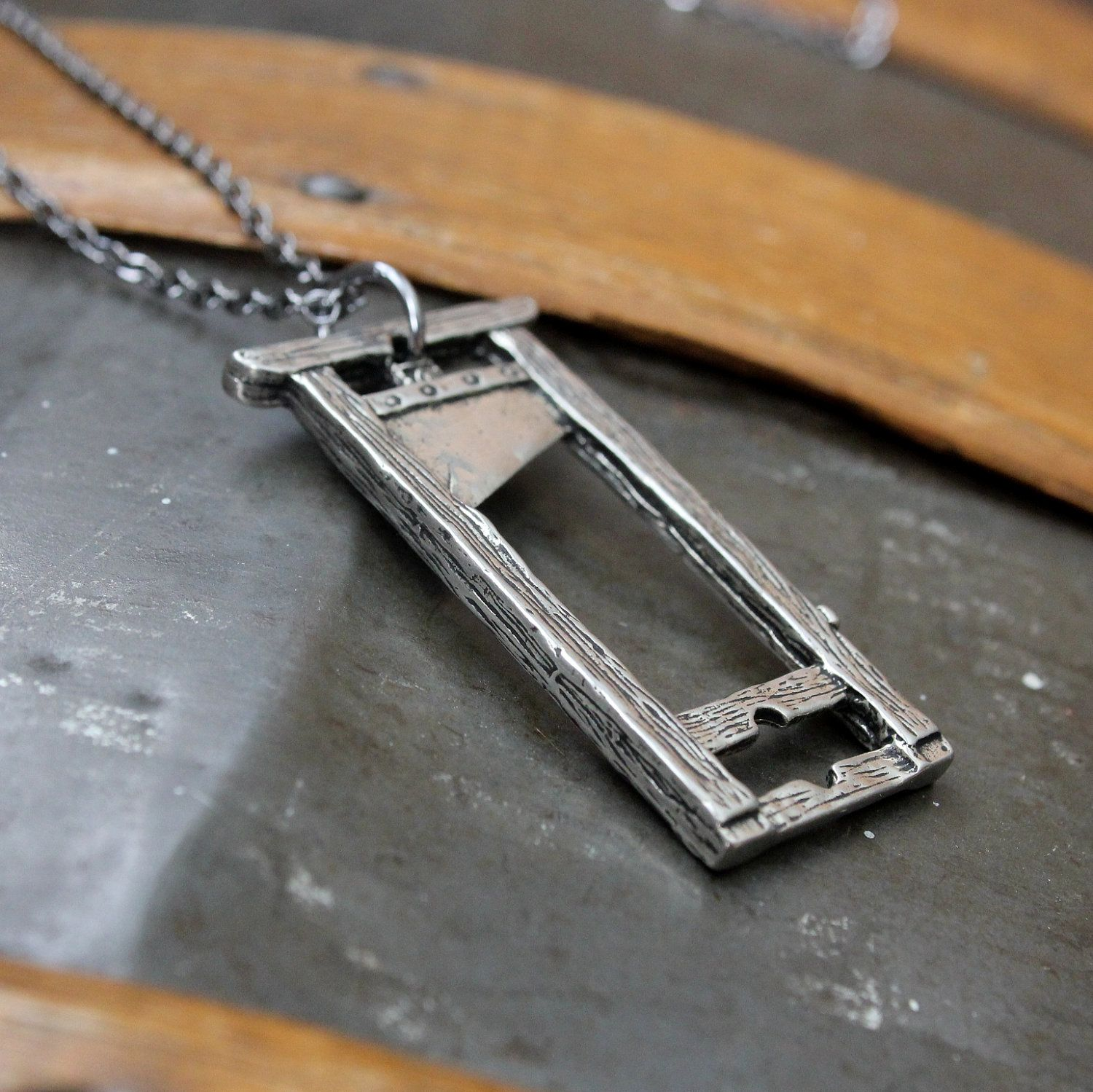 antique bronze silver Guillotine necklace  french Guillotine pendant necklace