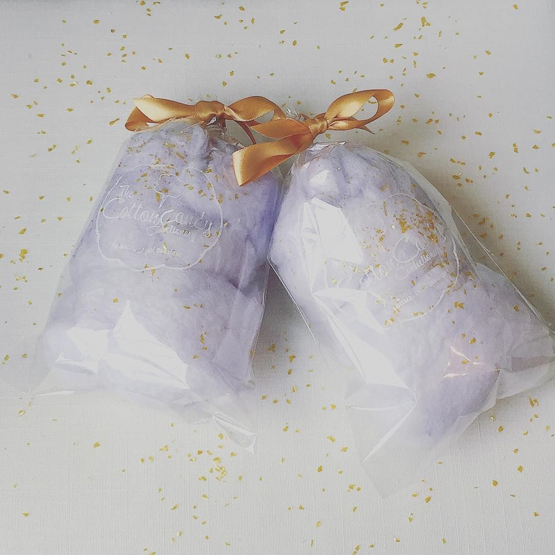 Purple wedding favors- Champagne cotton candy | Gold Party Glam ...