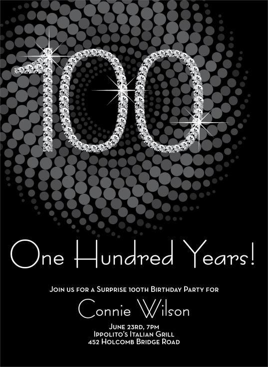 diamond 100th birthday invitations by
