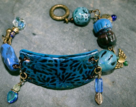 Shades Of Indigo Ceramic Cuff Focal Bracelet by frogwoodstudio, $39.00