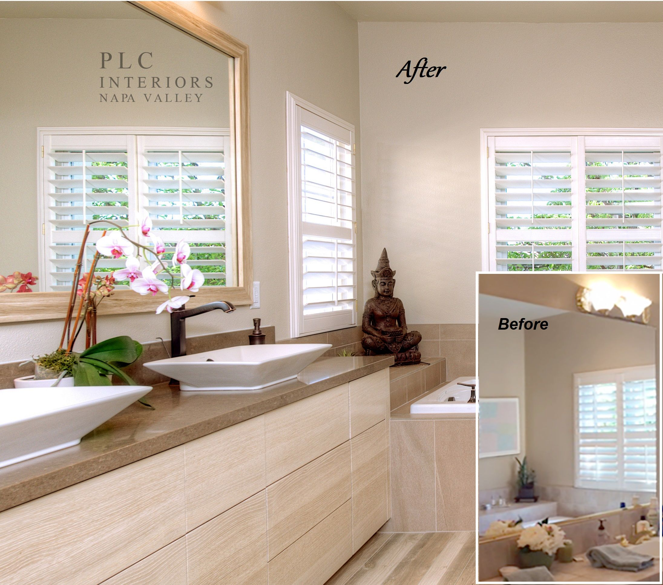PLC Interiors Of Napa, CA Added A MirrorMate Frame Directly To The Plate Glass Mirror. The