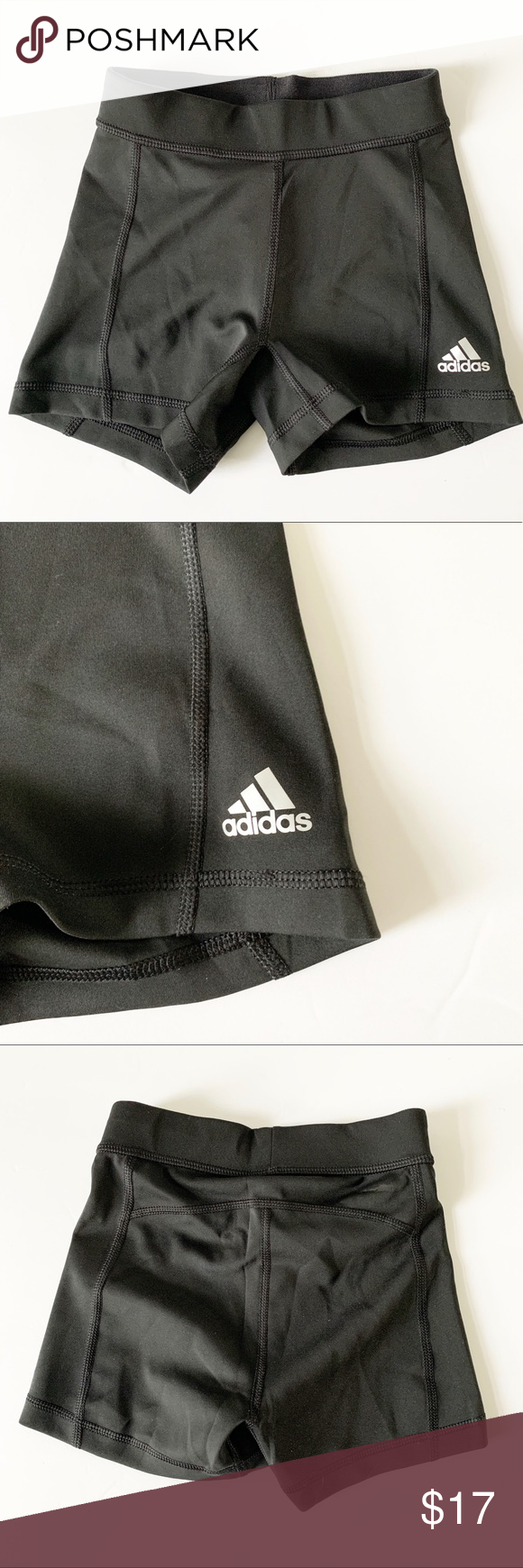 """NWT Adidas Tech Fit Compression Booty Shorts XXS New adidas compression tech fit athletic booty shorts in black.  UPF, moisture wicking.  Women's size XXS.  Approximate measurements (flat lay): Waist 10"""" Inseam 3""""  Sorry, no returns for measurements.  This item is new with tags, bagged, and stored in a smoke and pet free location.   DXJ I0831.3 adidas Shorts"""
