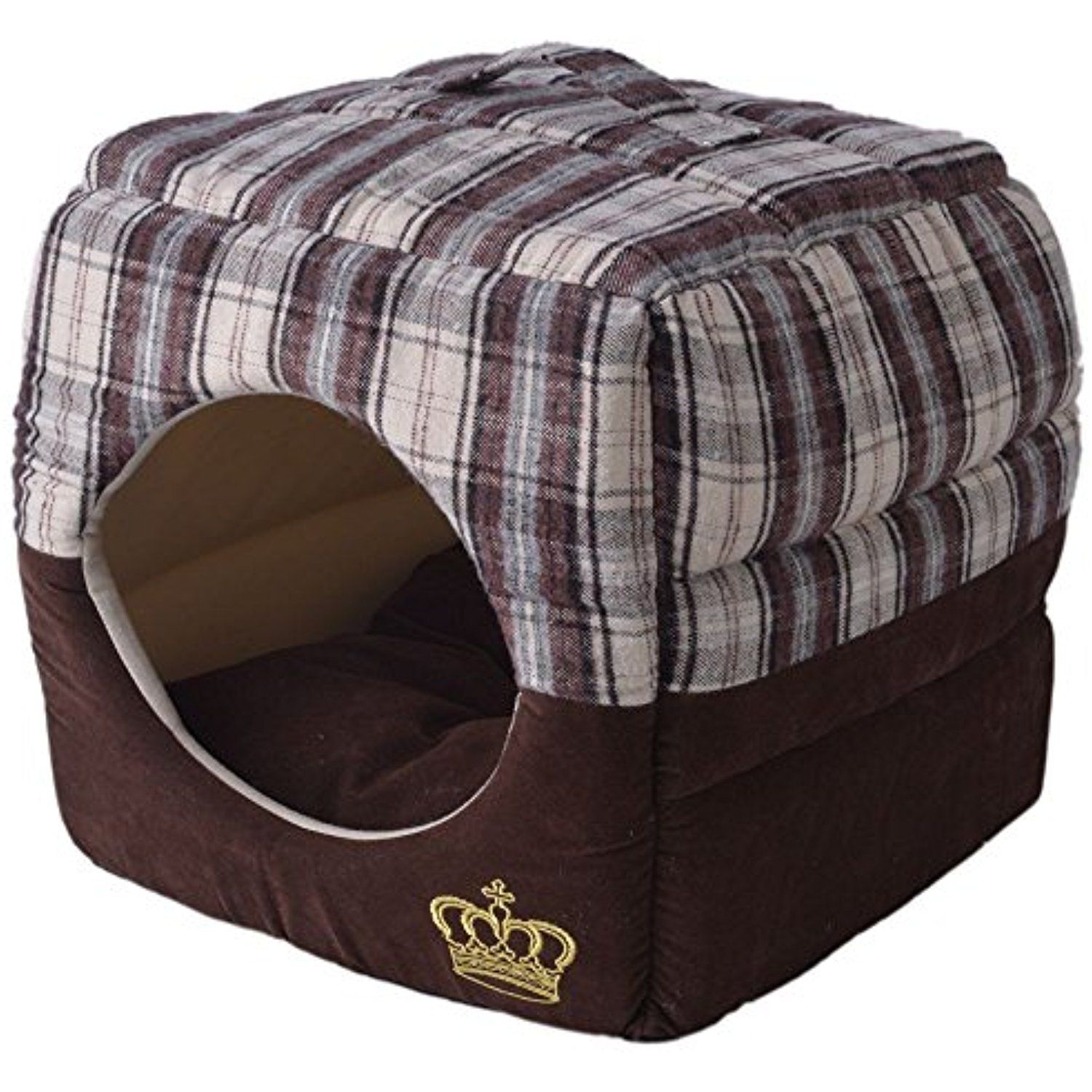 Soft Plaid Cat Cube House 2 In 1 Deluxe Pet Bed For Small Dogs Classic Fashion Royal Crown With Thick Soft Cotton Fabric Br Cat Cube Dog Bed Large Dog Crate