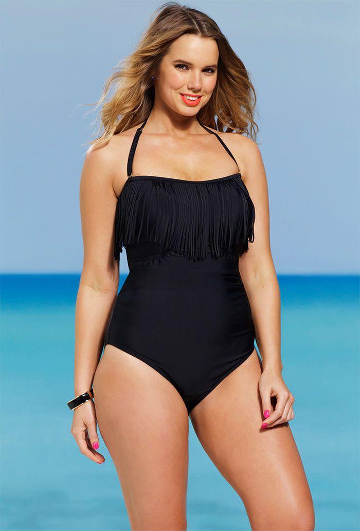 de57b376825a2 Shore Club Eclipse Plus Size Fringe Bandeau Halter Swimsuit