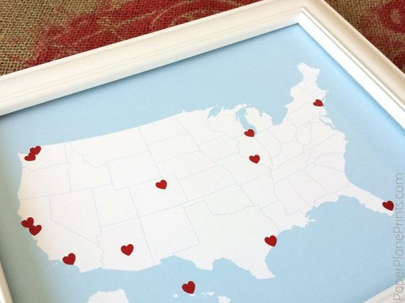 Anniversary gift travel map of the united states usa map road
