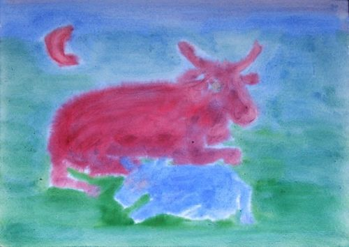 waldorf 4th grade human animal bull cow watercolor painting. Black Bedroom Furniture Sets. Home Design Ideas