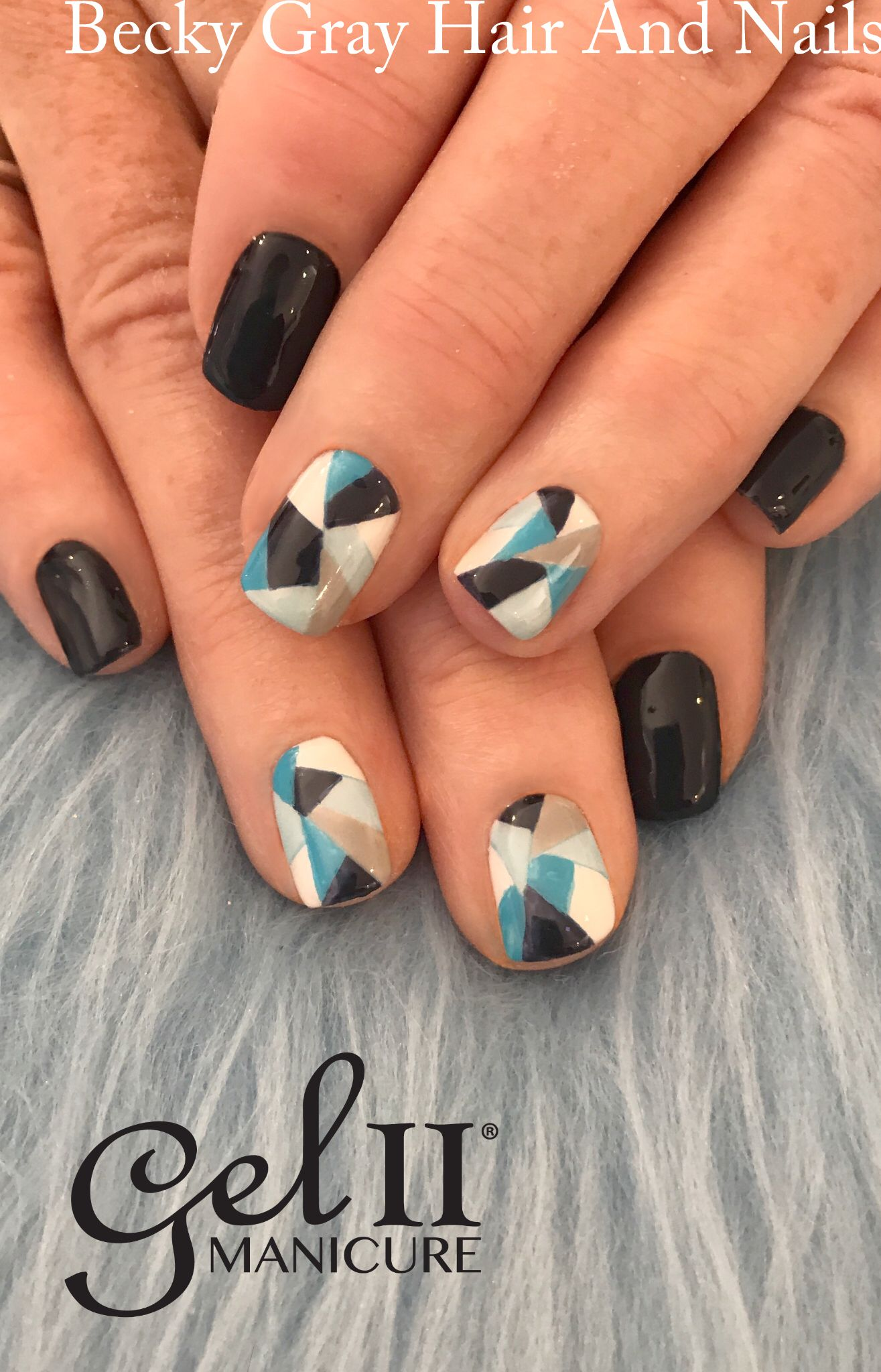 Gel ii manicure Royal Navy with hand painted abstract nail art ...