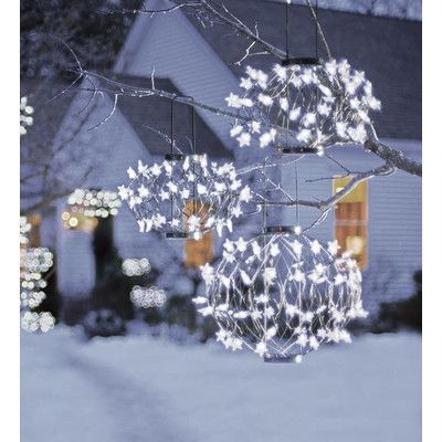 Wind & Weather 3 Piece Solar-Powered Lighted Starball Set