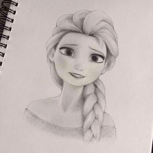 Elsa Pencil Sketch Step By Step