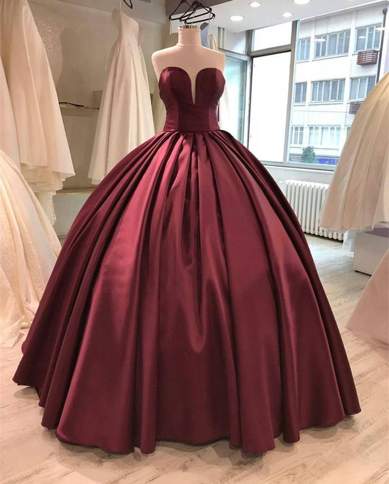 Burgundy Satin Sweetheart Prom Dresses Ball Gowns