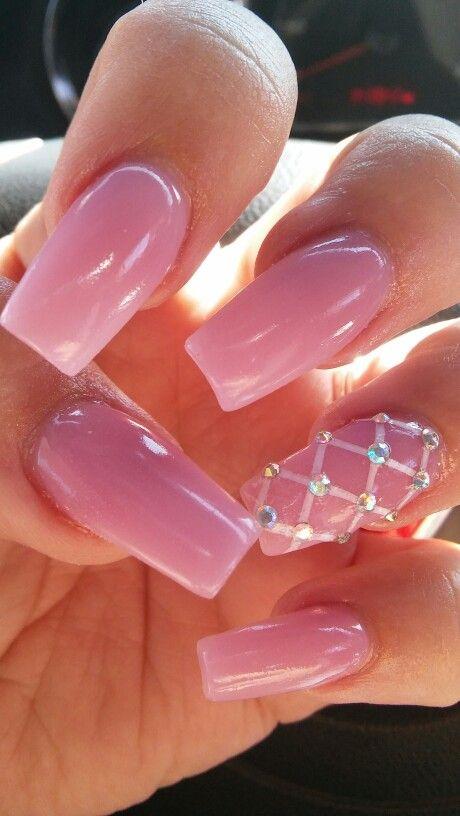 April 2016 coffin nails, pink acrylic, diamonds, nail art, simple ...
