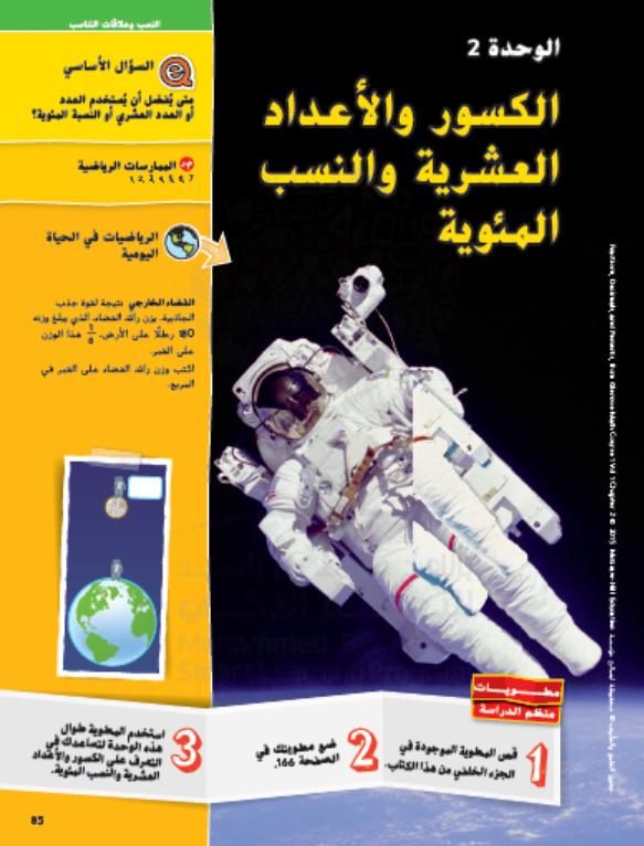 وحدة الكسور والاعداد العشرية والنسب المئوية للصف السادس مادة الرياضيات المتكاملة Comic Book Cover Book Cover Books