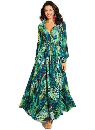 Lato Wloska Zwiewna Sukienka Maxi Long Print 38 M Green Long Sleeve Dress Maxi Dress Women Long Sleeve Dress