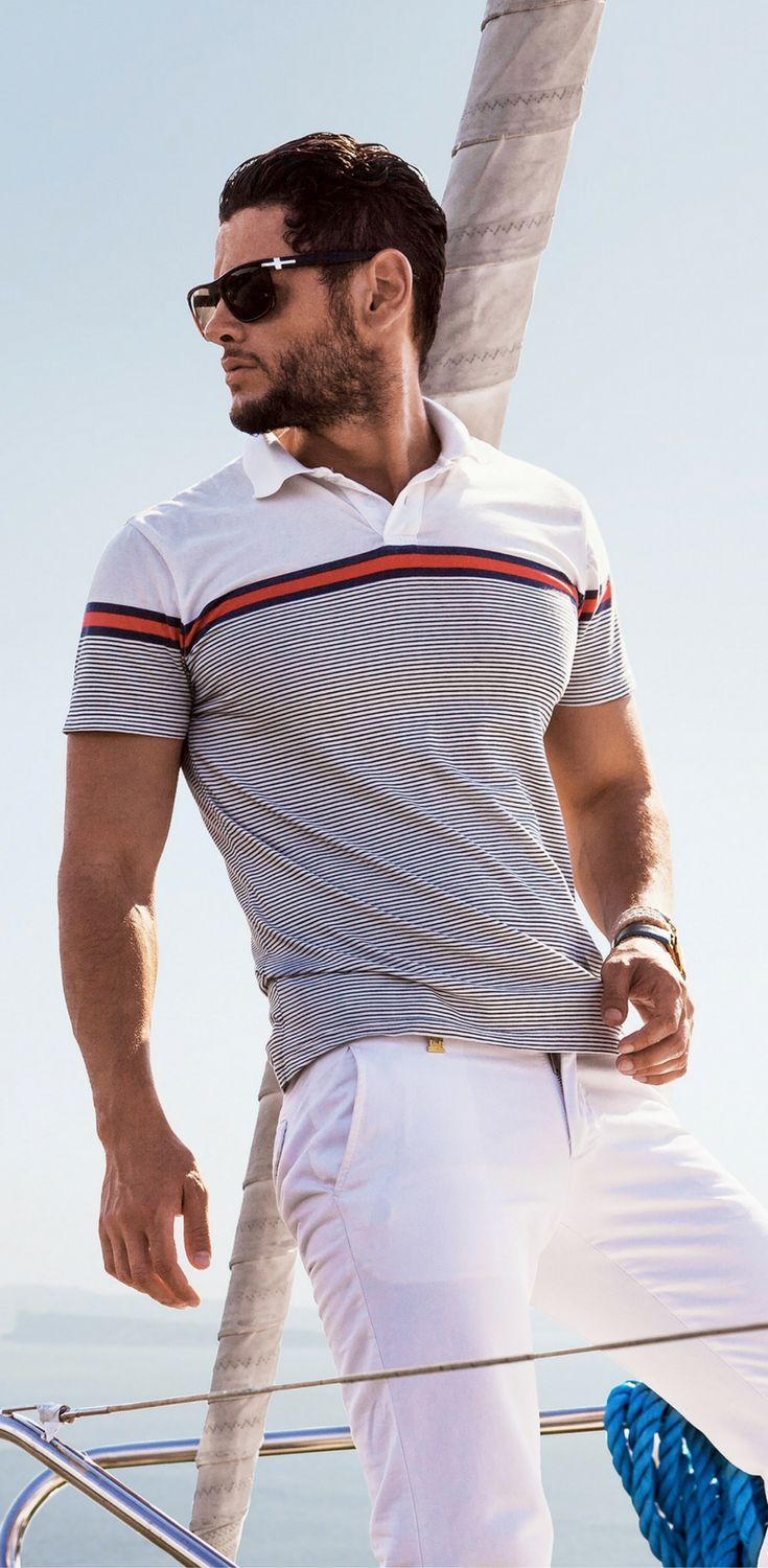 Men's casual summer fashion style 2017. Polo shirt and white ...