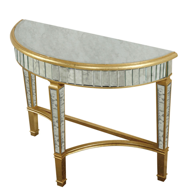 Elegant Lighting Half Moon Table Gold Antique Mirror Half