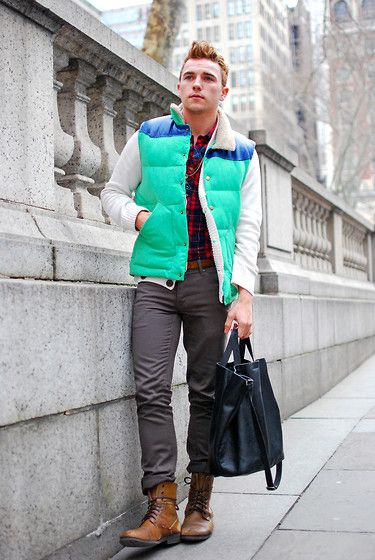 Get this look: http://lb.nu/look/3121041  More looks by Justin Livingston: http://lb.nu/munrowe  Items in this look:  Urban Outfitters Vest, Banana Republic Kristin Tote, Angel Court Necklace, Comune Pants, Ralph Lauren Shawl Neck Sweater