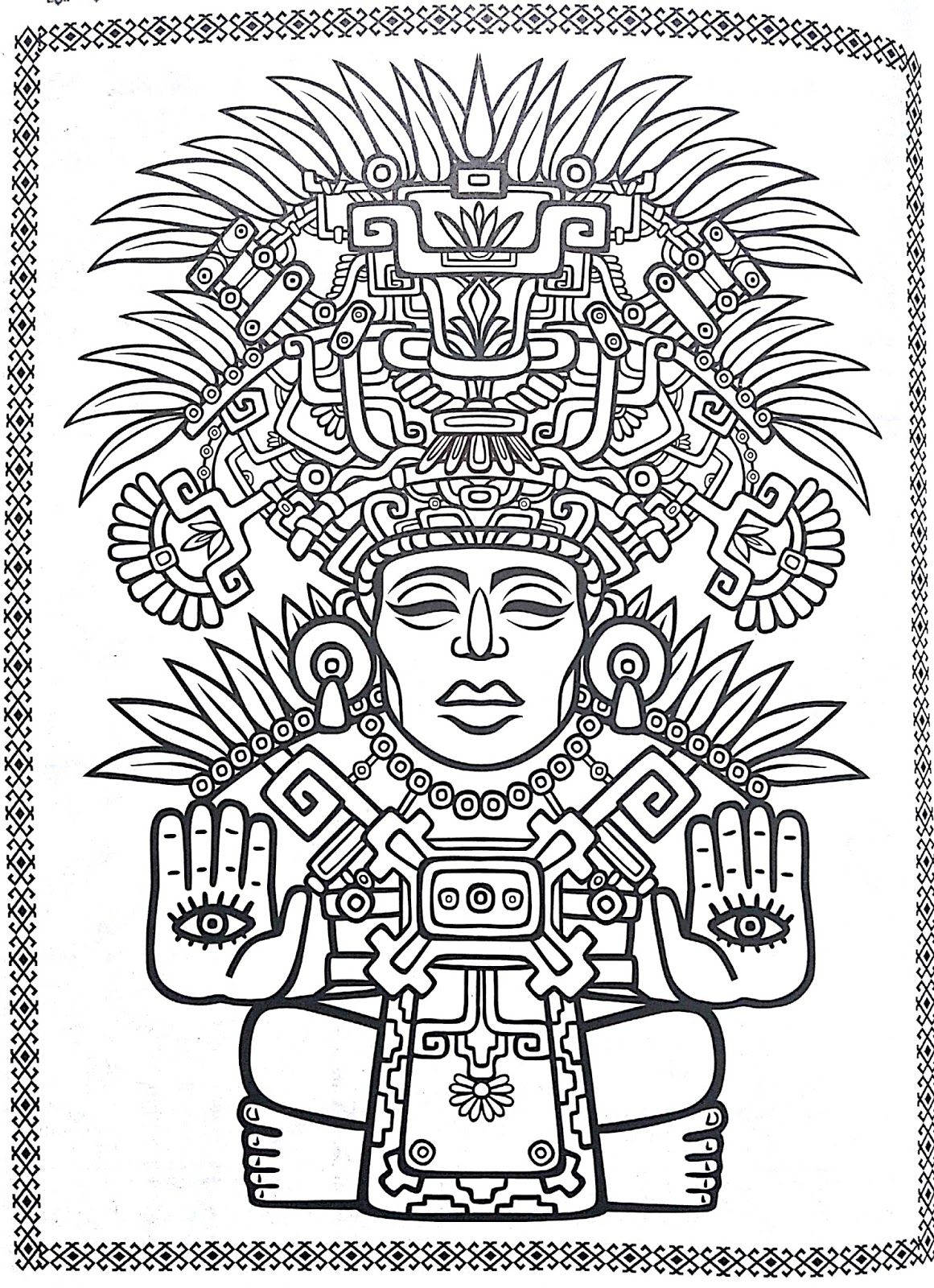 Mayan mandala coloring pages  Designs coloring books, Mandala