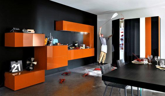 Modular Orange Kitchen Design With Solid Black Painting Wall Modern Cabinet And Dining Table Set