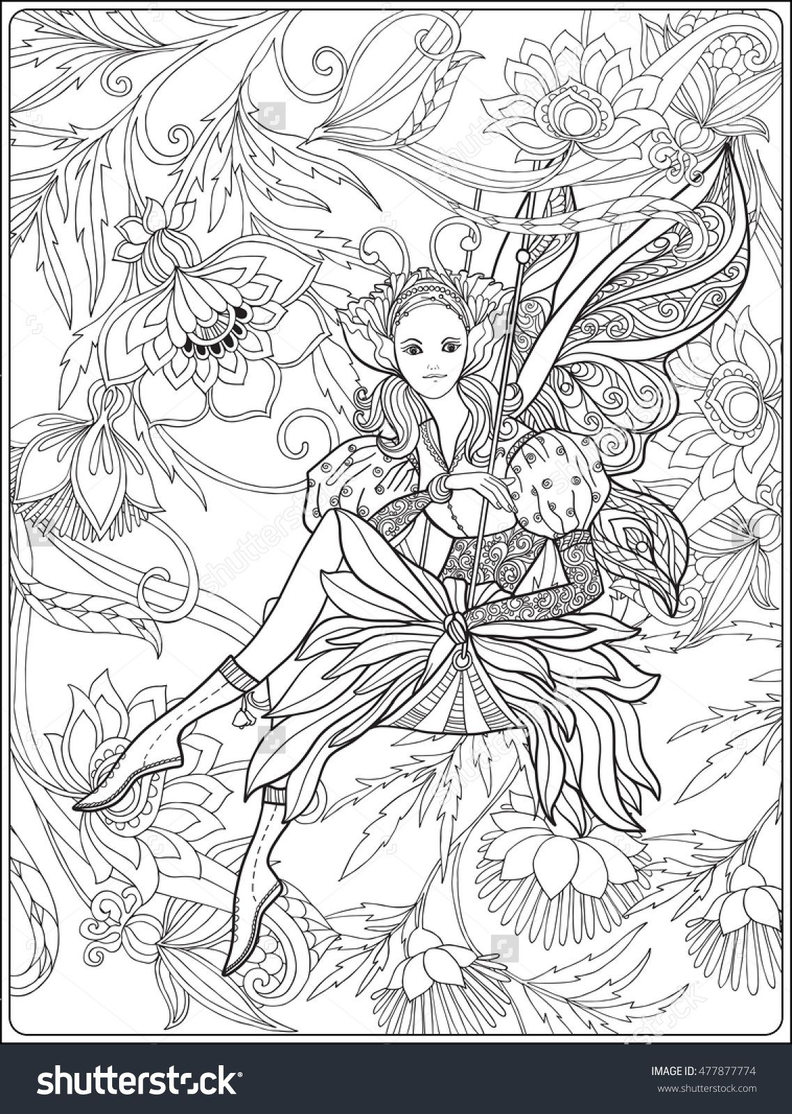 fairy with butterfly wings on swing on medieval floral background coloring page shutterstock. Black Bedroom Furniture Sets. Home Design Ideas