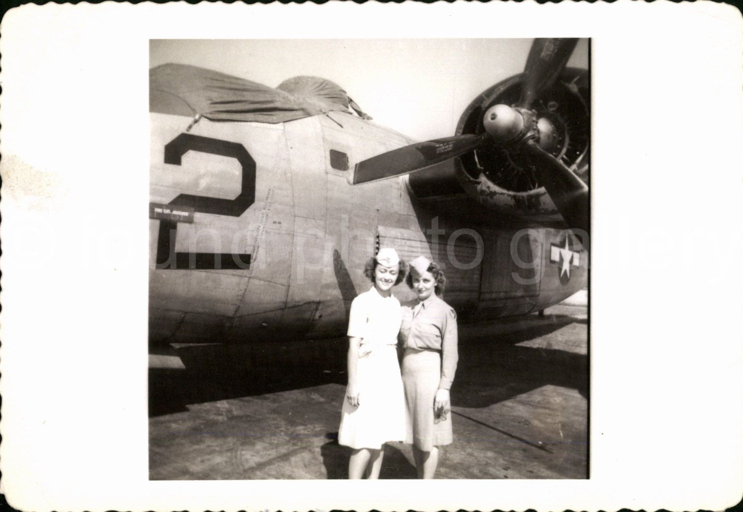 1940's World War 2 Vintage photo 2 WAC's and B24 AUGUSTINE0831 by foundphotogallery on Etsy