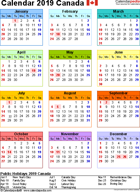 Canada Calendar 2019 Free Word Calendar Templates Great Things To