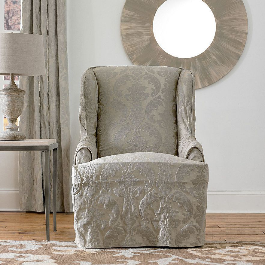 New Sure Fit Slipcovers Matelassé Damask Wing Chair Slipcover #SureFit #Traditional