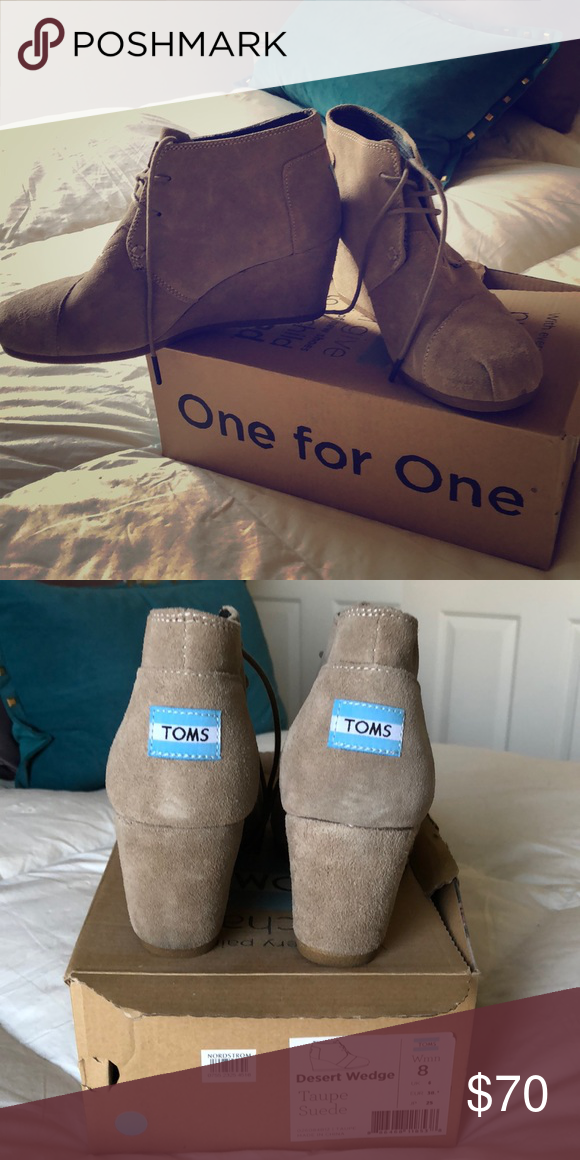 a945a60e0945 Toms Desert Wedge NWT Desert Wedge. Size 8. Taupe Suede. Comes with box and  Toms shoe bag Toms Shoes Ankle Boots   Booties