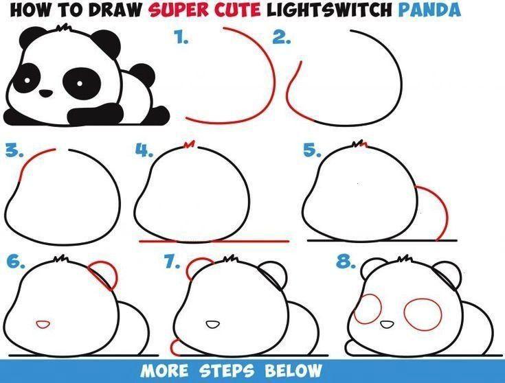 zeichnet man einen niedlichen Kawaii Panda Bären, der einfach Schritt für Schritt zeichnet -  Wie