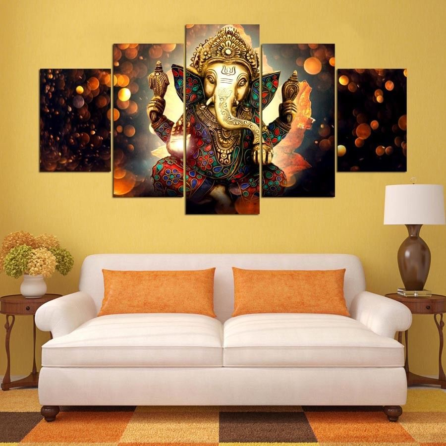 Hindu God Ganesha Elephant 5 panel Painting Printed Canvas Wall Art ...