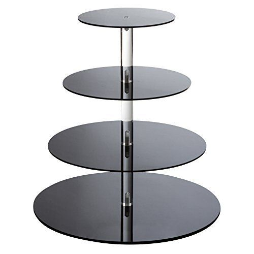 YestBuy 4 Tier White Round Wedding Party Acrylic Cupcake Display Tree Tower Stand 1 Unit 4 Tier Round
