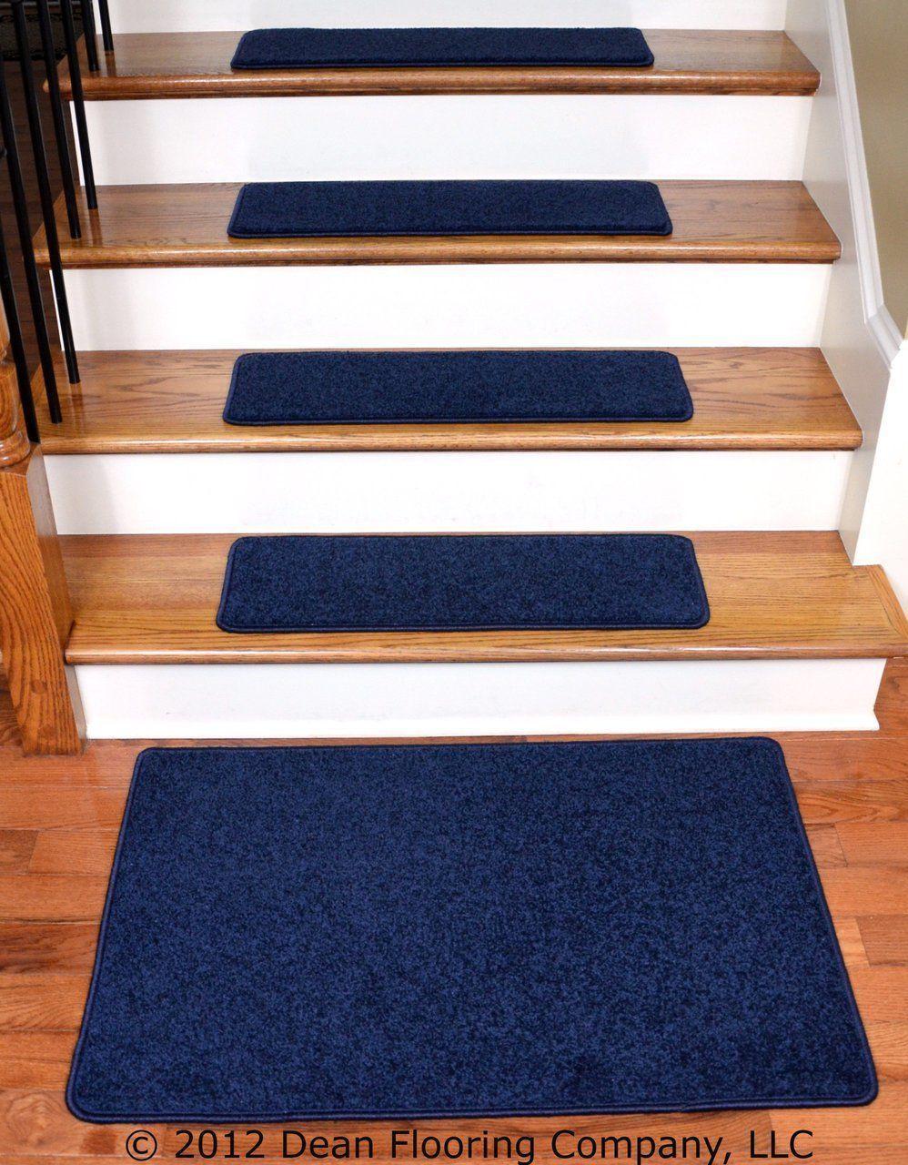 Best Dean Carpet Stair Treads 27 X 9 Navy Blue Plush 13 640 x 480