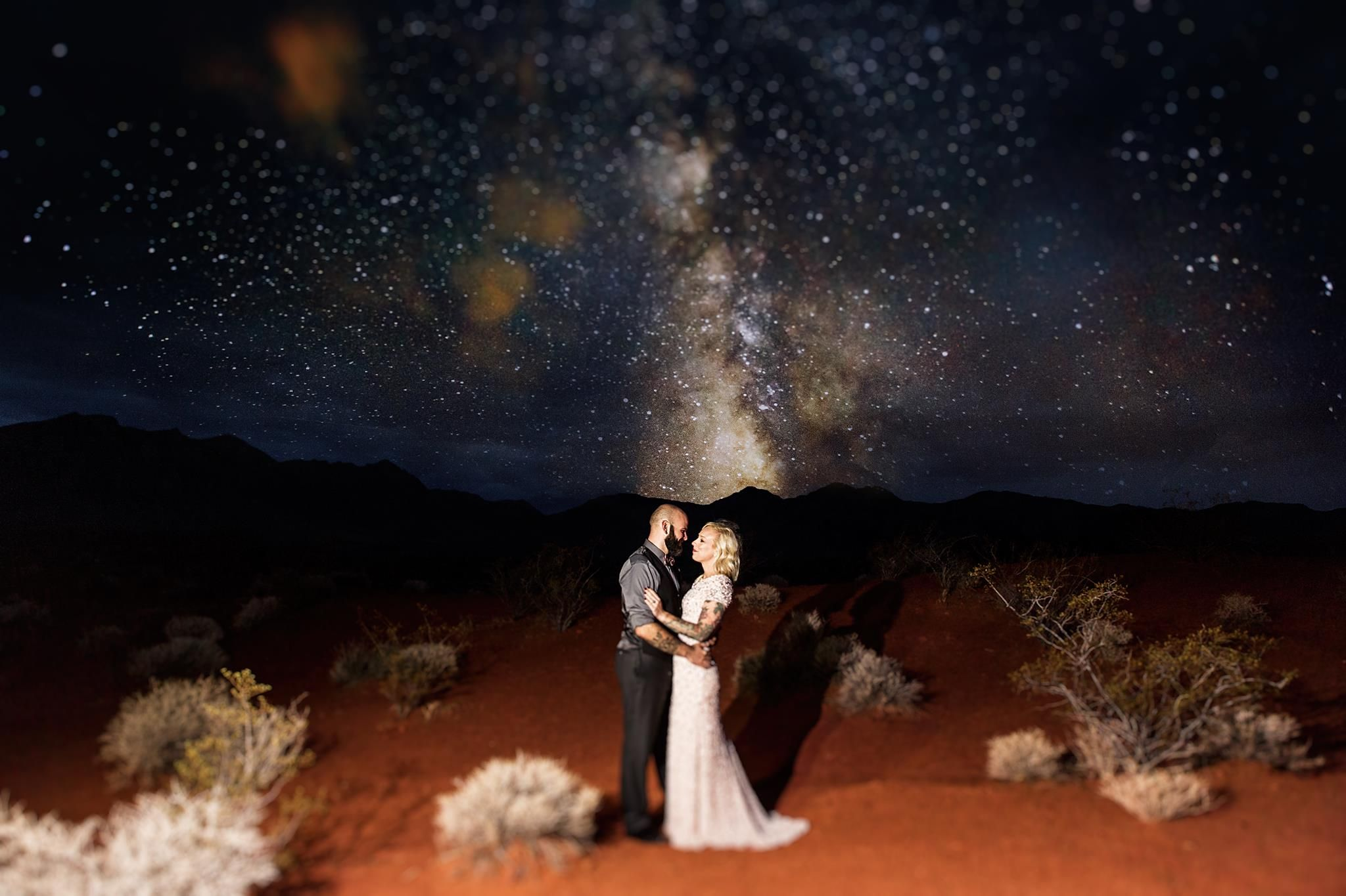 Danette Chappell | The Amberlight Collective | A nighttime desert elopement stylized session with Portra 160 | Tilt + Sharpening in ASE