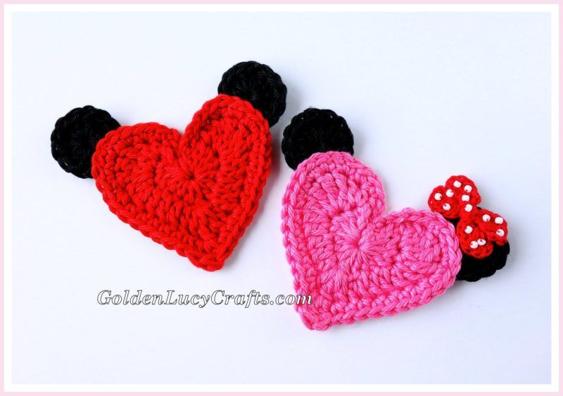 Mickey Mouse Crochet Applique - Free #crochet Pattern, Heart-Shaped ...