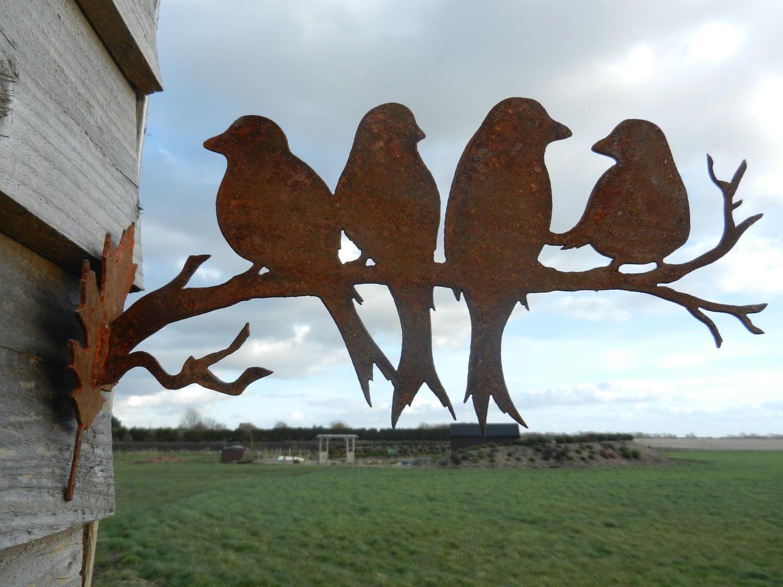 Rusty Birds on a branch / Bird Garden gift / Metal garden ...