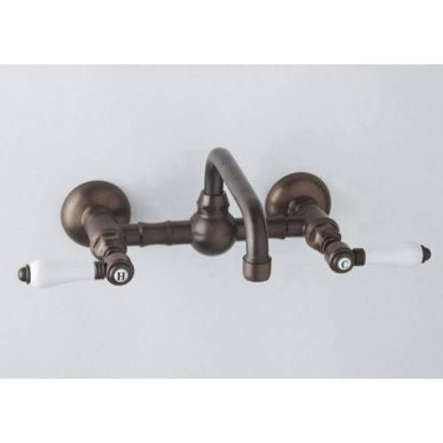 Rohl A1423LP 2 Vocca Wall Mount Bridge Bathroom Faucet With Porcelain Levers