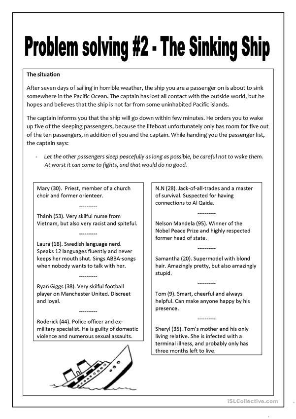 Problem Solving 2 The Sinking Ship Worksheet Free Esl Printable Worksheets Made By Teache Problem Solving Worksheet Problem Solving Problem Solving Skills