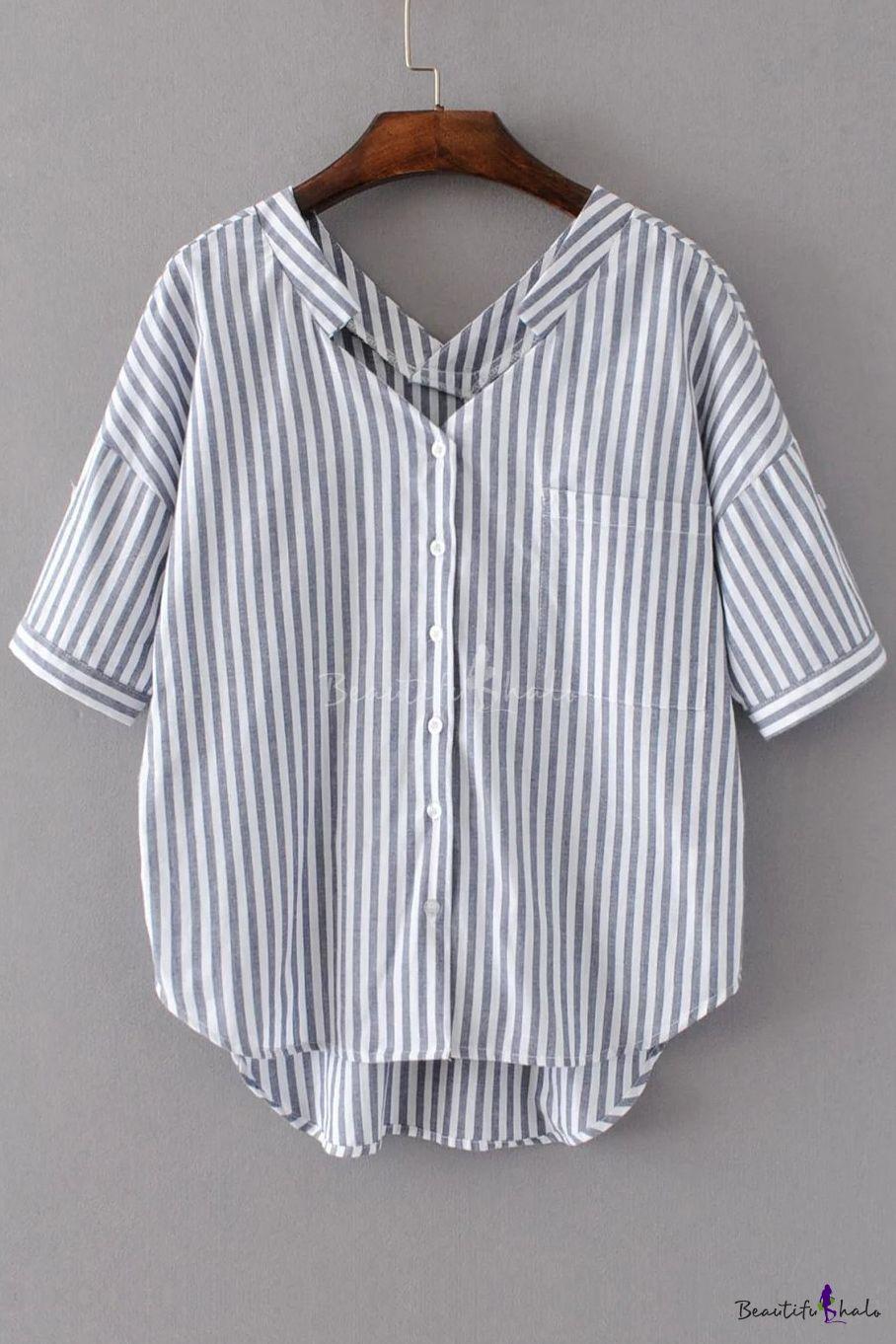 6816181ef9c1cc Vertical Striped Color Block V-Neck Dropped Short Sleeve High Low Hem  Button Down Shirt