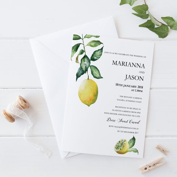 lemon tree invitation invitation design summer weddings and