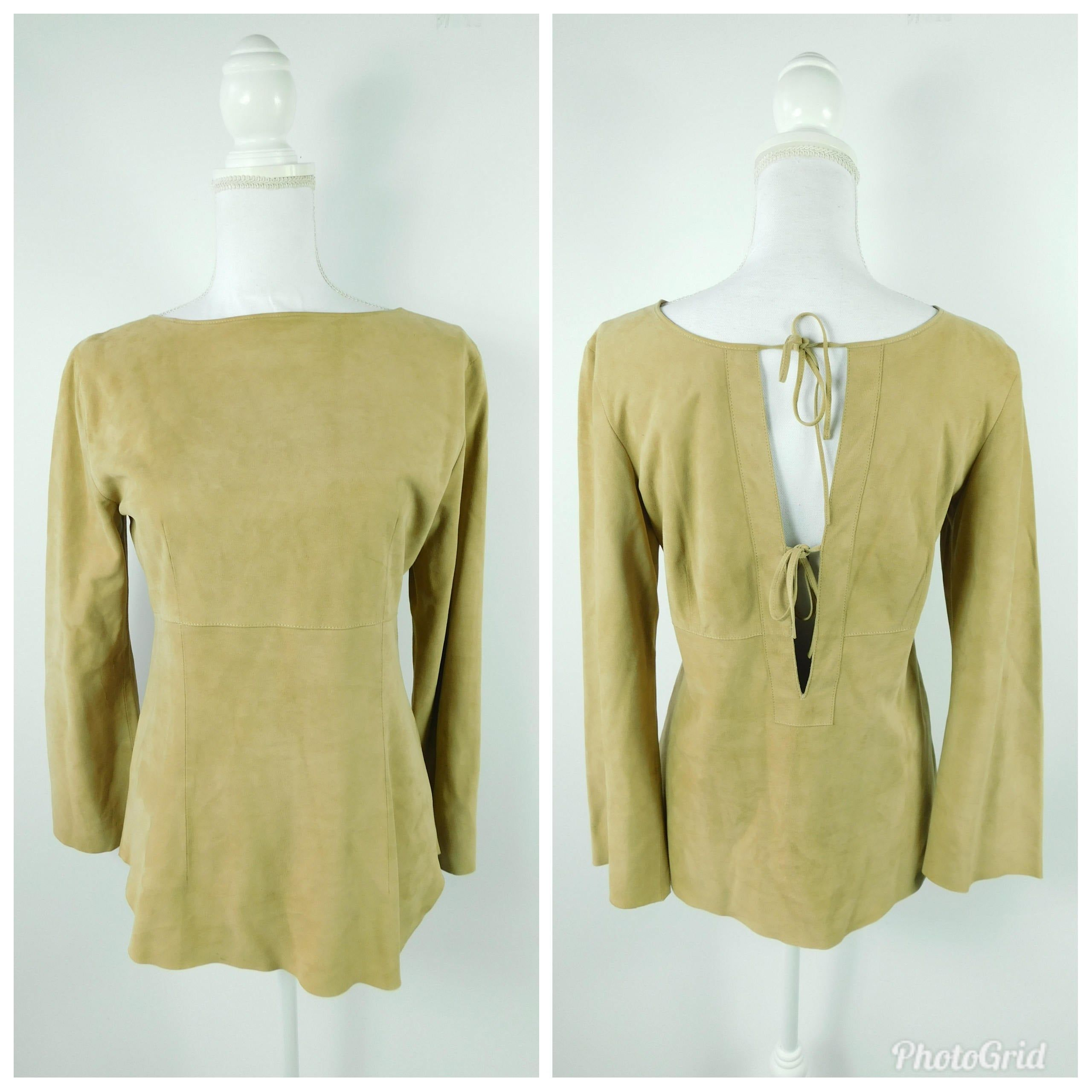 Photo of Vintage 70s 1970s Tan Brown Leather Suede Open Back Ties Boatneck Long Sleeve Shirt Top Blouse Sz La