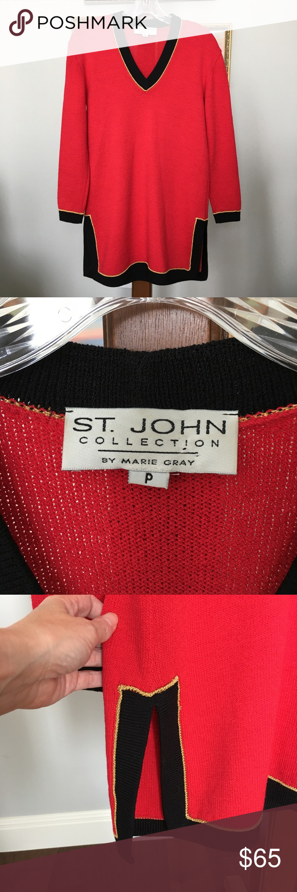 St. John Collection Red V-neck Tunic Sweater sz P | Tunic sweater ...