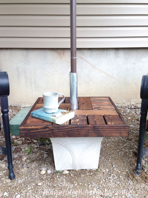 Diy Umbrella Stand With Side Table Diy How To Outdoor Furniture Outdoor Umbrella Stand Patio Umbrella Stand Diy Side Table