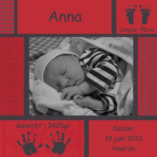 Luxe cadeau :: Geboorte Canvas eigen kleur, 24x24 cm