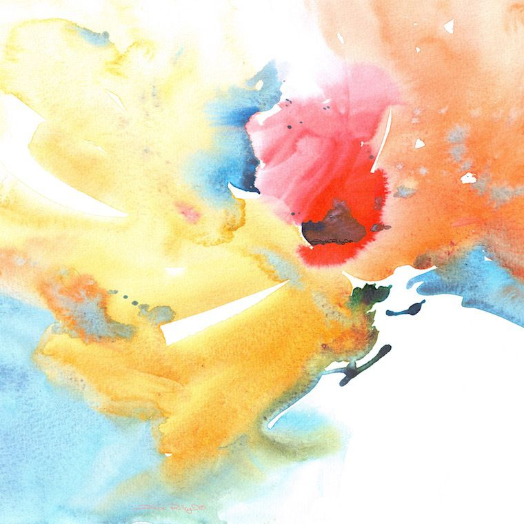 watercolor abstract flower painting,yellow, red, orange flowers ...