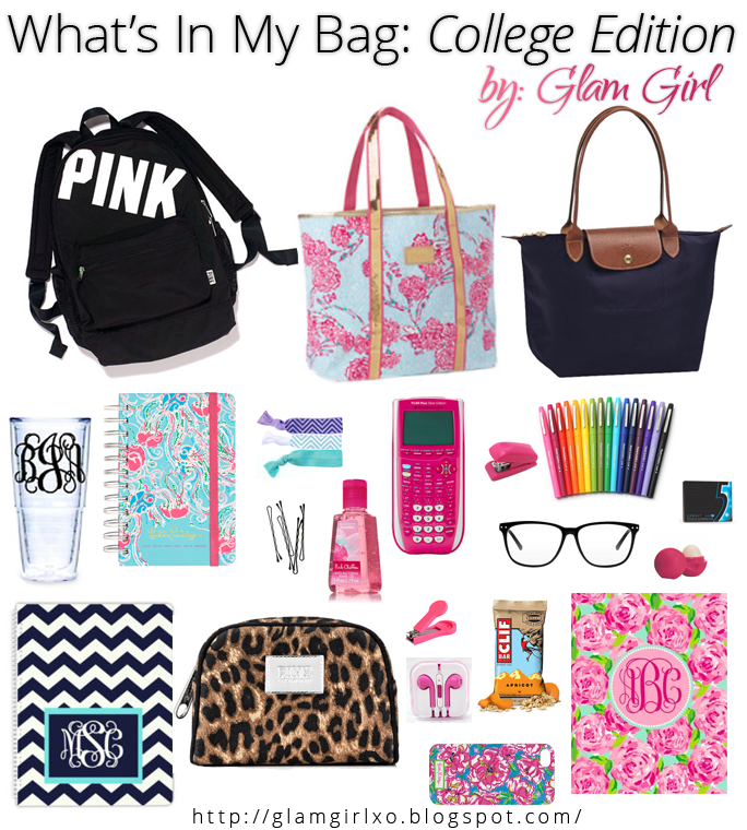 Glam Girl What's In My Bag College Edition School bag
