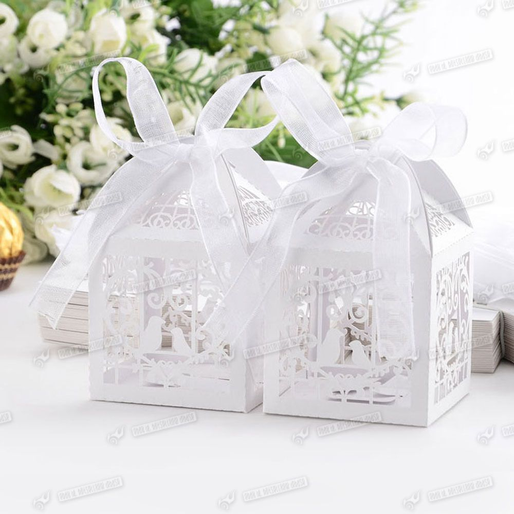 50 piece Laser Cut Hollow Cage Wedding Party Favor Boxes for Gift ...