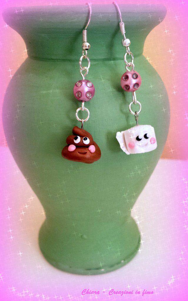 Orecchini In Fimo Handmade Kawaii Cacca E Carta Miniature Idee