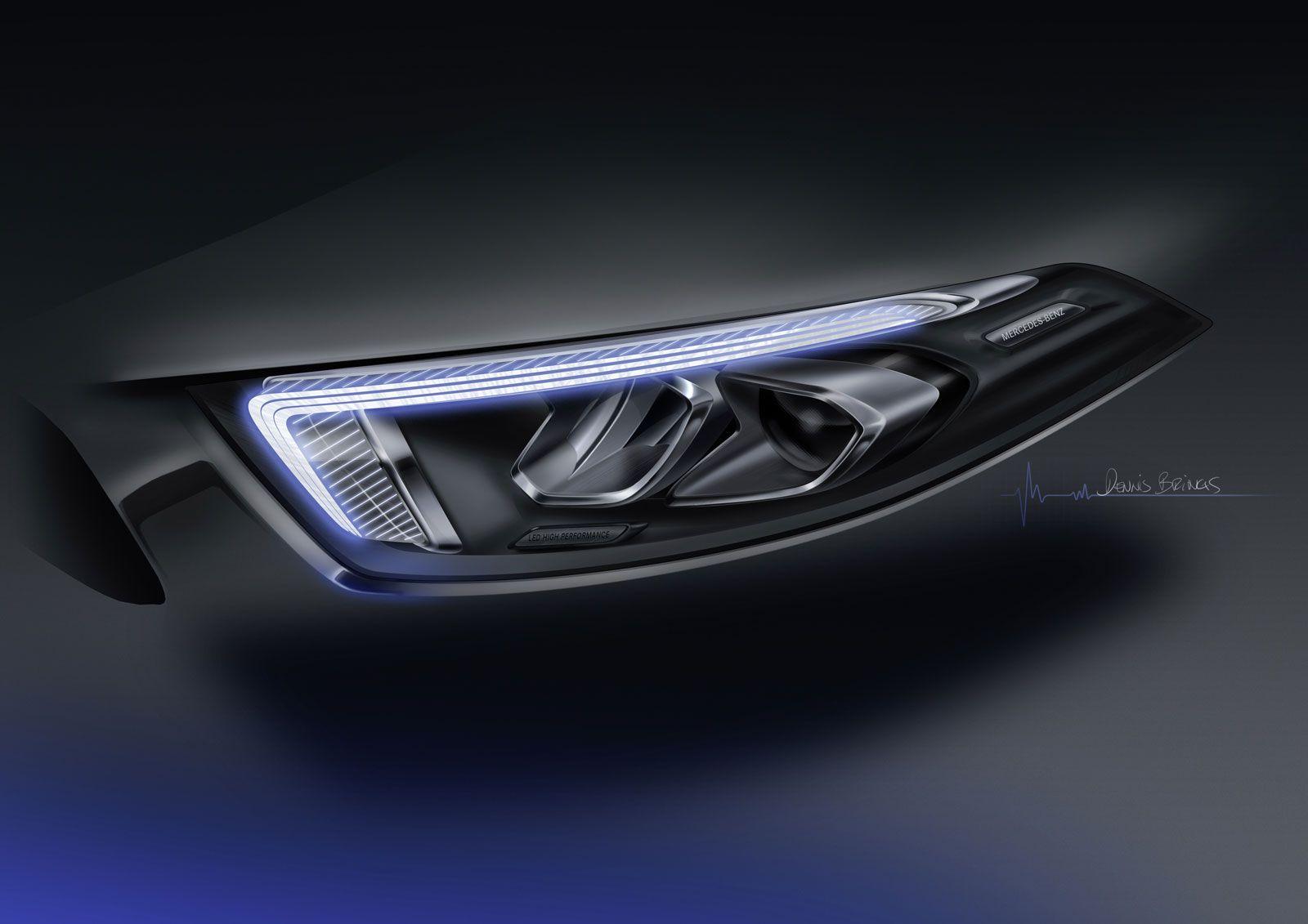 Mercedes Benz New A Class Headlight Design Sketch Render